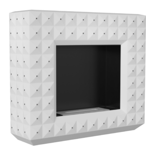 Biokominek EGZUL biały z kryształami Swarovski mat