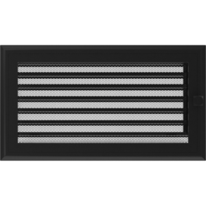 Kratki prostokątne Kratka Oskar czarna z żaluzją 17x30