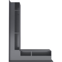 Kratka kominkowa LUFT SF narożny lewy grafitowy 76,6x54,7x9