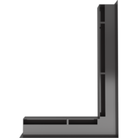 Kratka kominkowa LUFT SF narożny prawy czarny 54,7x76,6x6