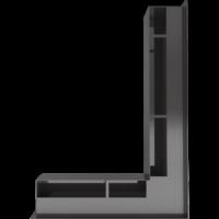 Kratka kominkowa LUFT SF narożny prawy czarny 54,7x76,6x9