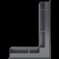 Kratka kominkowa LUFT SF narożny prawy grafitowy 54,7x76,6x9